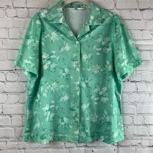 VINTAGE MAR-LEK Puff Sleeve Mint Floral Button Top